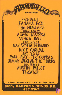 Armadillo World Headquarters, Austin, TX 2/9-13/77